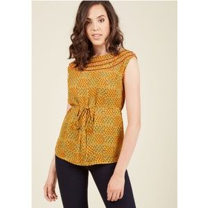 Modcloth Tiered Yoke Sleeveless Top Mustard Yellow